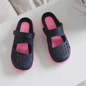 新款夏季越南防滑女士凉拖鞋橡胶洞洞鞋女户外休闲包头镂空凉鞋女