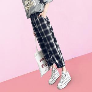 格子裤女韩版宽松黑白夏季2019新款高腰薄款直筒阔腿运动休闲裤子