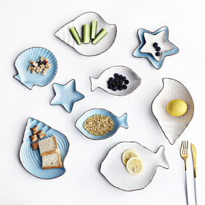 左岸花开地中海陶瓷餐盘鱼盘水果盘子小吃水果沙拉碗个性创意餐具图片