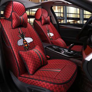 潮牌时尚个性网红汽车坐垫座套女四季通用全包围座垫亚麻车套卡通