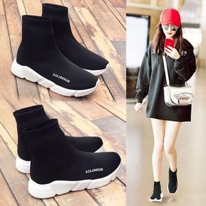 彈力襪子鞋女2019秋季短靴網紅百搭內增高運動鞋冬季加絨高幫襪靴