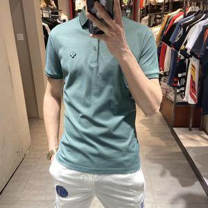 歐洲站夏季網紅polo衫男短袖絲光棉純色t恤翻領帥氣百搭修身半袖