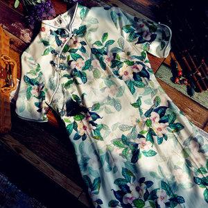 真絲桑蠶絲高端旗袍2021年新款夏季日常可穿年輕款少女改良連衣裙