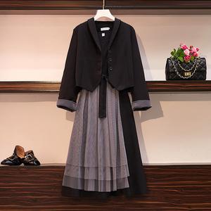 大碼女裝胖妹妹遮肉顯瘦連衣裙秋季2019新款洋氣西裝兩件套裝秋裝