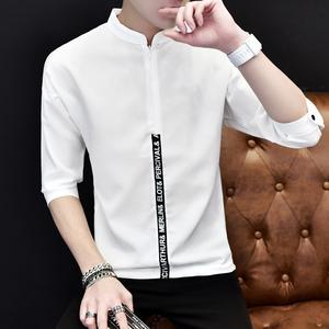 夏季五分袖T恤男士7分丅恤韩版七分袖中袖潮流5分短袖蝙蝠衫体桖