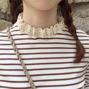 早秋裝新款韓風chic甜美蕾絲小立領修身長袖T恤女條紋上衣打底衫