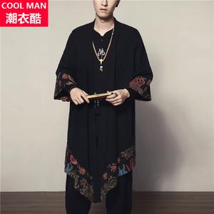 夏季中國風中長款大碼男裝復古薄款棉麻防曬開衫民族披風衣外套潮