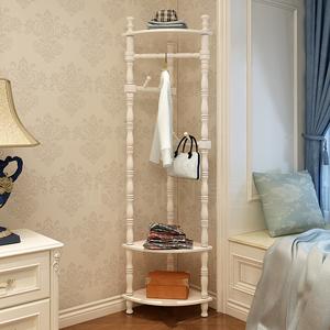 錦臣實木衣帽架轉角落地臥室墻角置物架現代簡約歐式掛衣架客廳