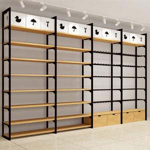 名创款优品黑色双立柱货架饰品店木质展示架超市便利店边柜货架