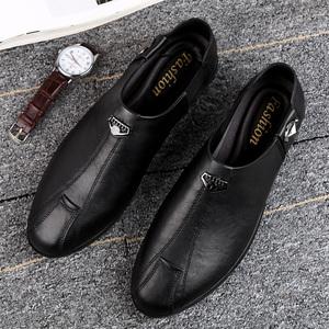 夏季男鞋透氣男士休閑皮鞋真皮頭層牛皮韓版一腳蹬懶人軟底豆豆鞋