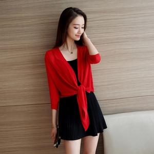 。大紅色毛衣開衫女韓國裝短款韓版披肩開衫外套上衣薄款針織衫外