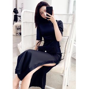 法式旗袍年輕款少女復古老上海長款氣質優雅改良連衣裙黑色晚禮服