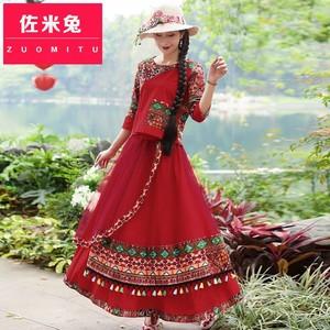 民族風女裝新式文藝唐裝夏漢服復古上衣中國風棉麻半身裙兩件套裝