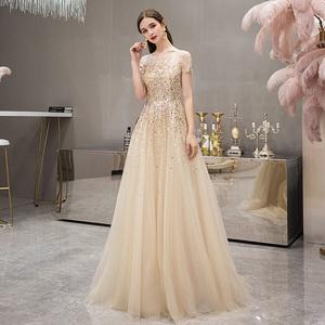 金色高端女王氣場晚禮服奢華名媛高貴氣質宴會時尚長款顯瘦連衣裙