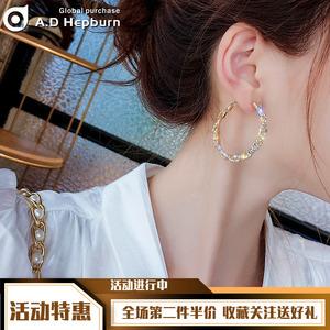 夸張大耳環韓國氣質時尚耳釘女純銀網紅圓圈耳墜2020年新款潮長款