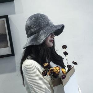 秋冬時尚日系絨毛大檐漁夫帽韓版女嗯百搭雪尼爾純色休閑復古盆帽