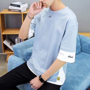 夏季男士短袖t恤潮牌丅桖纯棉5五分袖韩版潮流宽松上衣服7七分袖