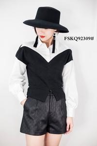 风尚卡琦92309 19新款假两件收腰套头衬衫女拼接针织修身小衫上衣