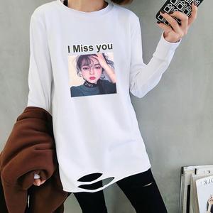 2019早春装新款韩版宽松下摆破洞长袖白色T恤女中长款内搭打底衫