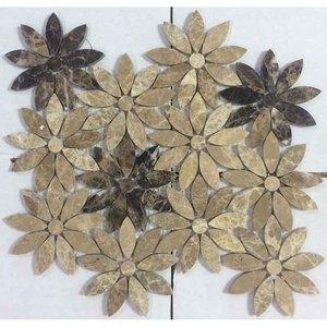 树叶拼花石材马赛克瓷砖背景墙进口深啡浅啡亮面水刀咖啡色阳台