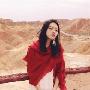 沙漠围巾女 海边度假防晒披肩 民族风棉麻丝巾 纯色超大红色纱巾