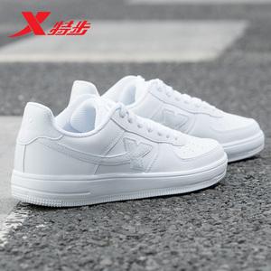 特步女鞋板鞋2019冬季运动鞋男鞋秋季低帮男士休闲鞋情侣款小白鞋