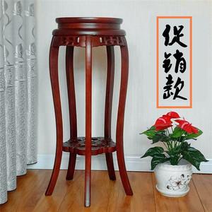 榆木花架实木客厅绿萝中式吊兰花几地面木质圆形室内放花盆的架子