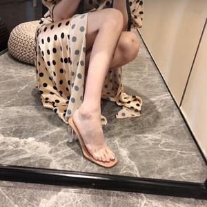 2019夏季新款网红一字带透明高跟凉鞋女粗跟水晶跟性感凉拖鞋外穿