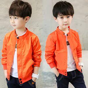 小男孩�yg����XG�����_g孩子夹克男童外套棒球秋季小男孩纯色防晒衣春天小孩潮流橘色户g