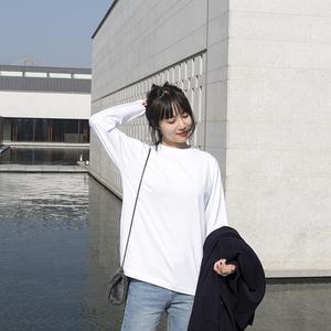 打底衫女长袖t恤白色纯色纯棉2019新款内搭叠穿潮宽松ins初秋上衣