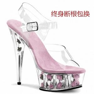 。15cm钢管舞鞋 超高跟细跟凉鞋 玫瑰花透明水晶大码婚鞋礼服女鞋