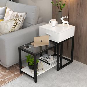 边几角几现代简约小茶几迷你卧室轻奢玻璃桌子客厅置物架沙发边柜