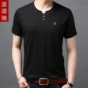 新款男装短袖T恤圆领中年爸爸夏装冰丝光棉宽松衣服无领40-50岁丅