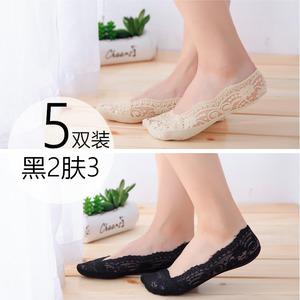 船袜女夏秋薄款隐形浅口硅胶防滑舒适女袜韩国蕾丝袜子女装不掉C