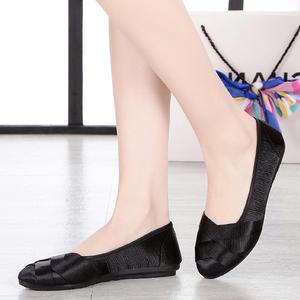 夏老北京布鞋新时尚孕妇平底鞋编织平跟舒适透气黑色工作鞋女单鞋