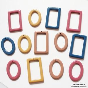 复古色树脂纯色长方形椭圆日本diy手作材料配件