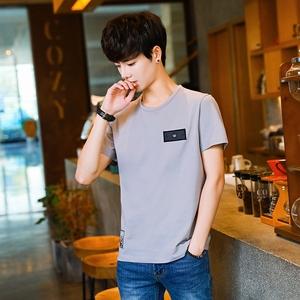 夏季棉短袖T恤男圆领韩版潮流帅气高中学生印花男装衣服体恤衫