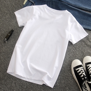 白色t恤女夏基礎款短袖女新款修身純白色純色體桖白T打底體恤衫女