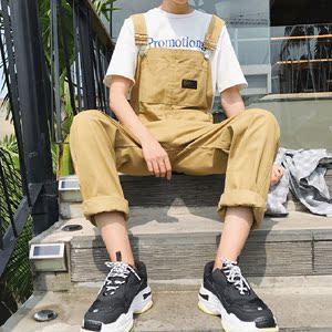 男士背带裤潮直筒韩版潮流宽松吊带裤青年学生小清新连体工装长裤