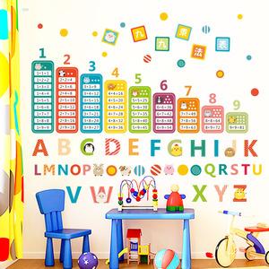99乘法口訣表九九無聲學習英文字母小孩早教兒童小學生墻貼畫