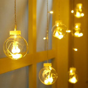 LED彩燈透明圓球塑料球 節日圣誕裝飾閃燈串燈 櫥窗店鋪燈滿天星