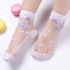 夏季女童水晶袜纯棉冰丝船袜儿童透气丝袜宝宝春秋薄款婴儿短袜子