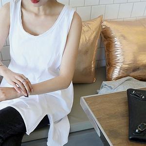韩版新款三色背心中长款纯棉无袖侧开叉T恤夏装大码休闲女装宽松