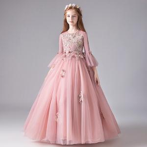 兒童禮服秋冬長袖女童公主裙生日晚禮服花童婚紗鋼琴演出服蓬蓬裙