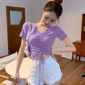 抽繩T恤女V領高腰短袖性感小眾設計感心機上衣短款緊身露臍半袖潮