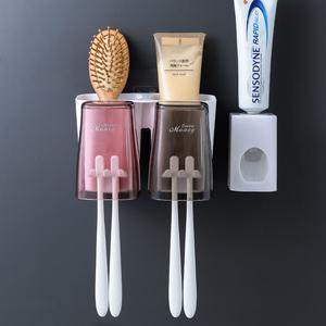 牙刷置物架情侶款壁掛式雙人免打孔簡約牙缸衛生間牙具漱口杯套裝