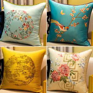 新中式刺繡抱枕紅木沙發靠墊大靠背床頭靠包中國風靠枕含芯定制套
