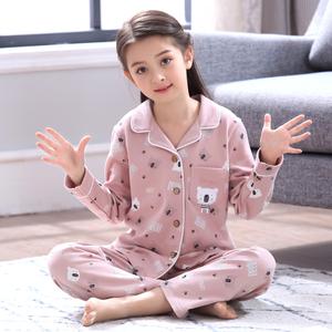 女童睡衣春秋季韩版翻领卡通长袖纯棉中大童女孩儿童家居服套装