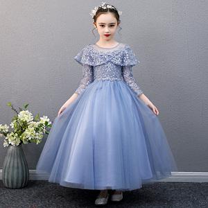 洋氣走秀禮服裙兒童長袖晚禮服女童生日公主裙蓬蓬紗鋼琴演出服冬