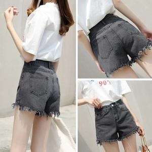 夏季新款牛仔褲短褲女韓版寬松不規則毛邊高腰顯瘦休閑闊腿熱褲潮